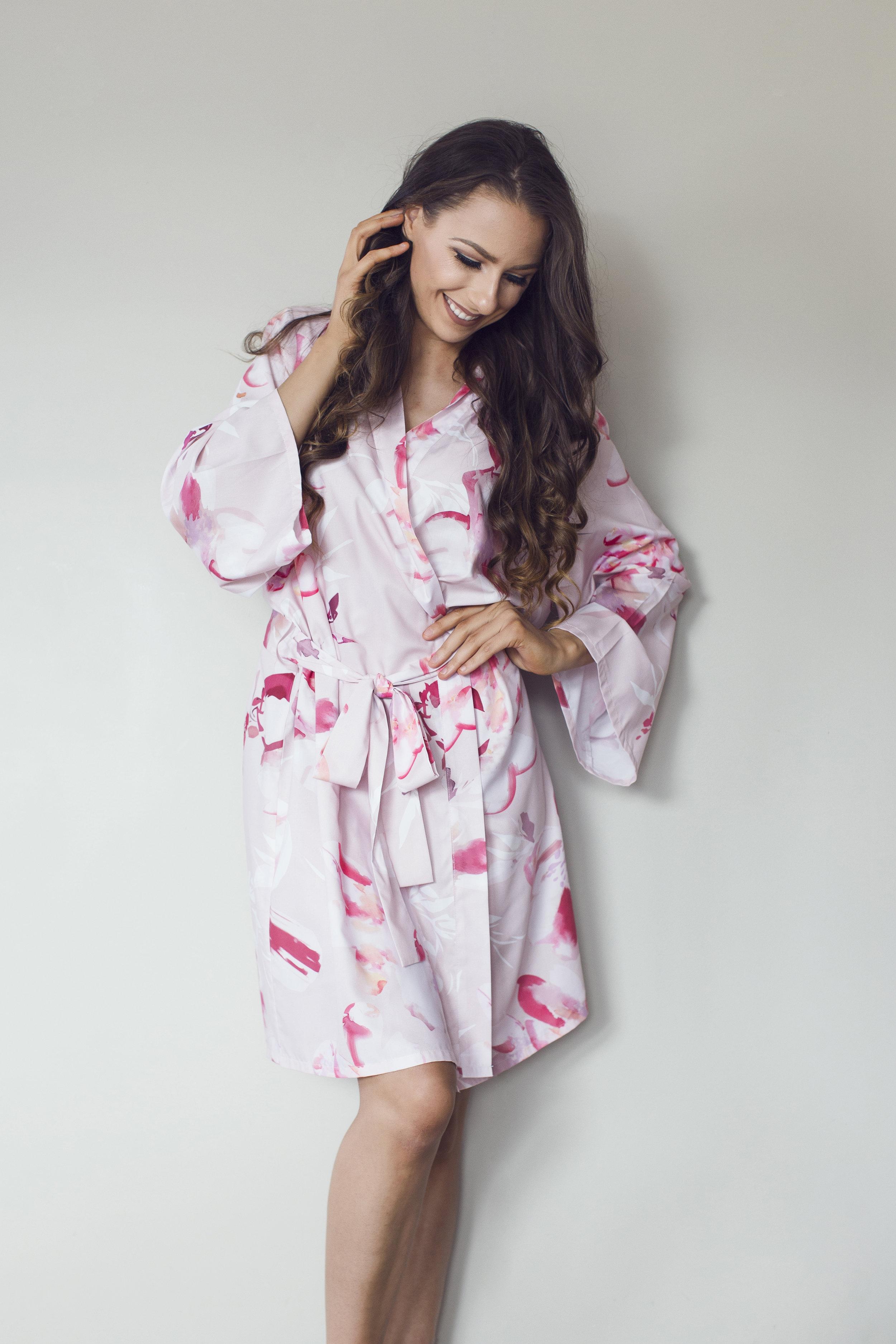 Floral long bridesmaid robes NZ