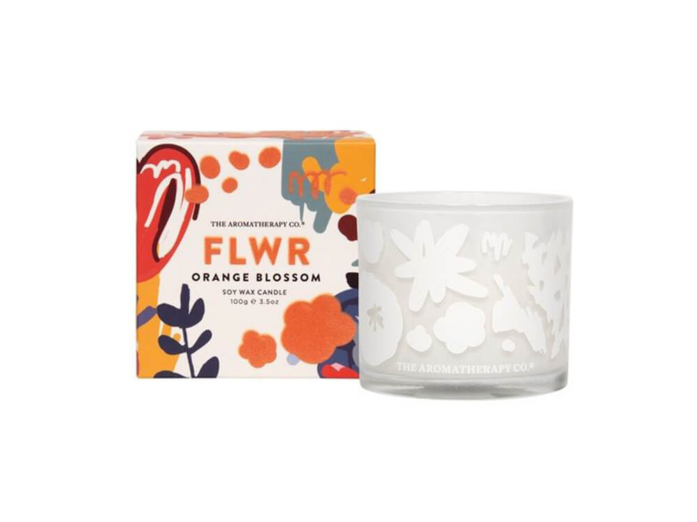 Aromatherapy Co.'s FLWR Orange & Blossom candle. 100g, citrus aroma family.