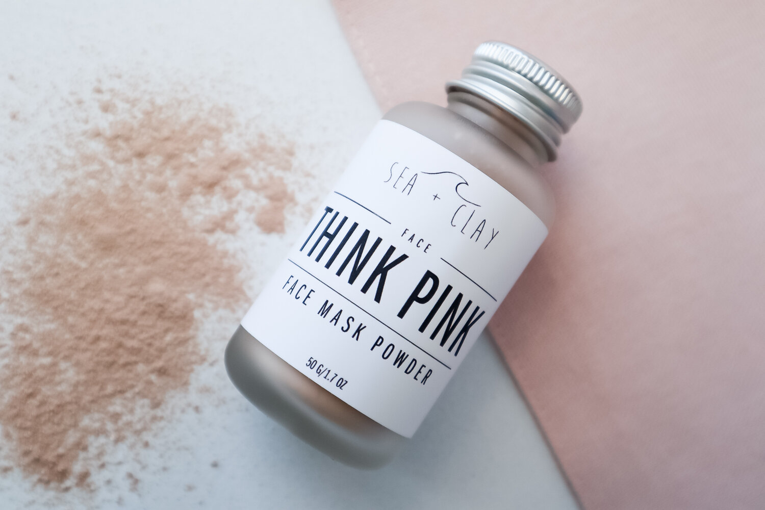 Sea + Clay Pink Clay face mask powder. Great for dry and sensitive skin.