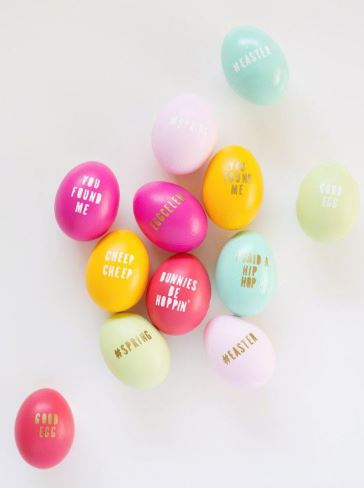 Cheeky Easter eggs in bright colors         - by lovely indeed