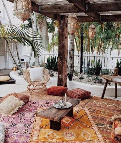 Moroccan Floor             Pillow - Create this cabana oasis using kilims and floor pillows            I would add sheer curtains for privacy