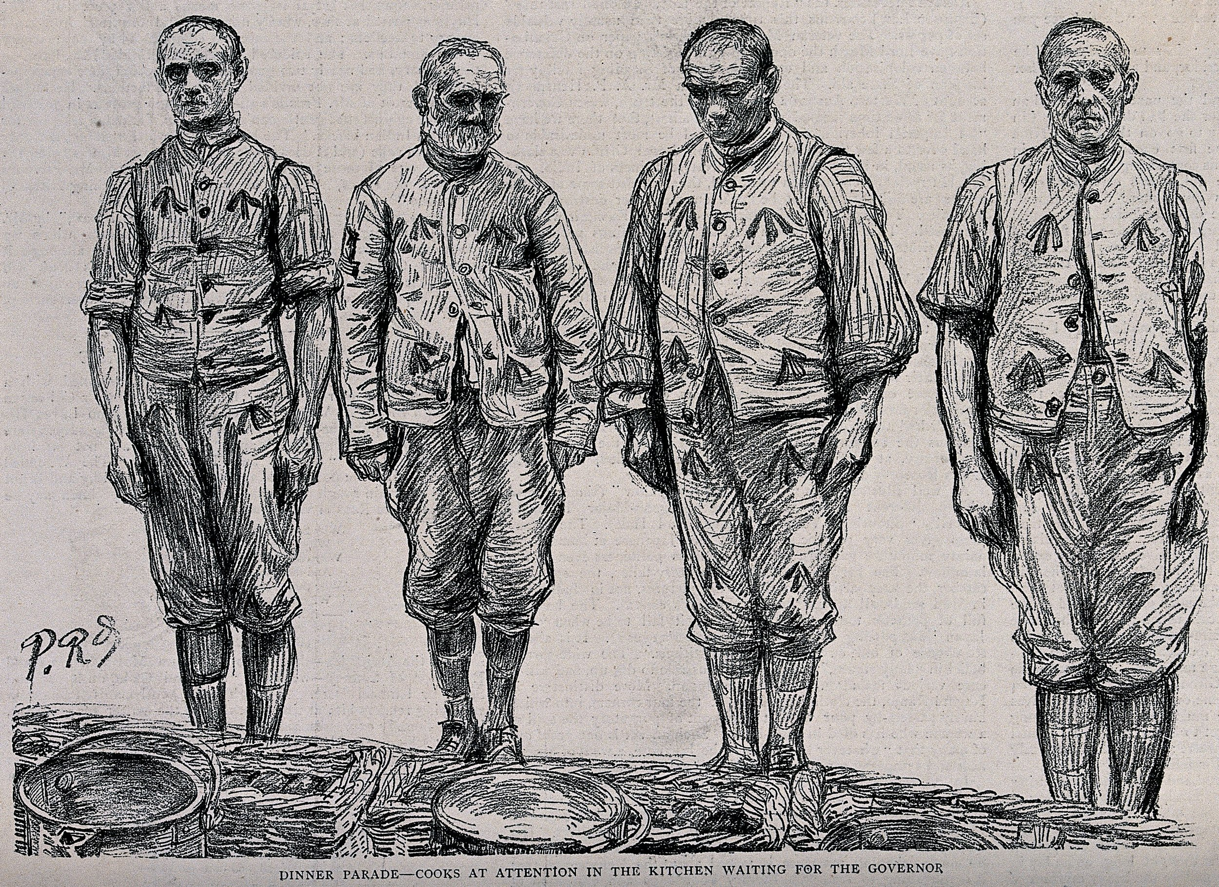 Four_men_in_prison_uniform_are_standing_in_a_line_in_front_o_Wellcome_V0041243.jpg