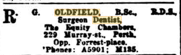 Advertisement for Richard Oldfield's dental practice. West Australian newspaper.