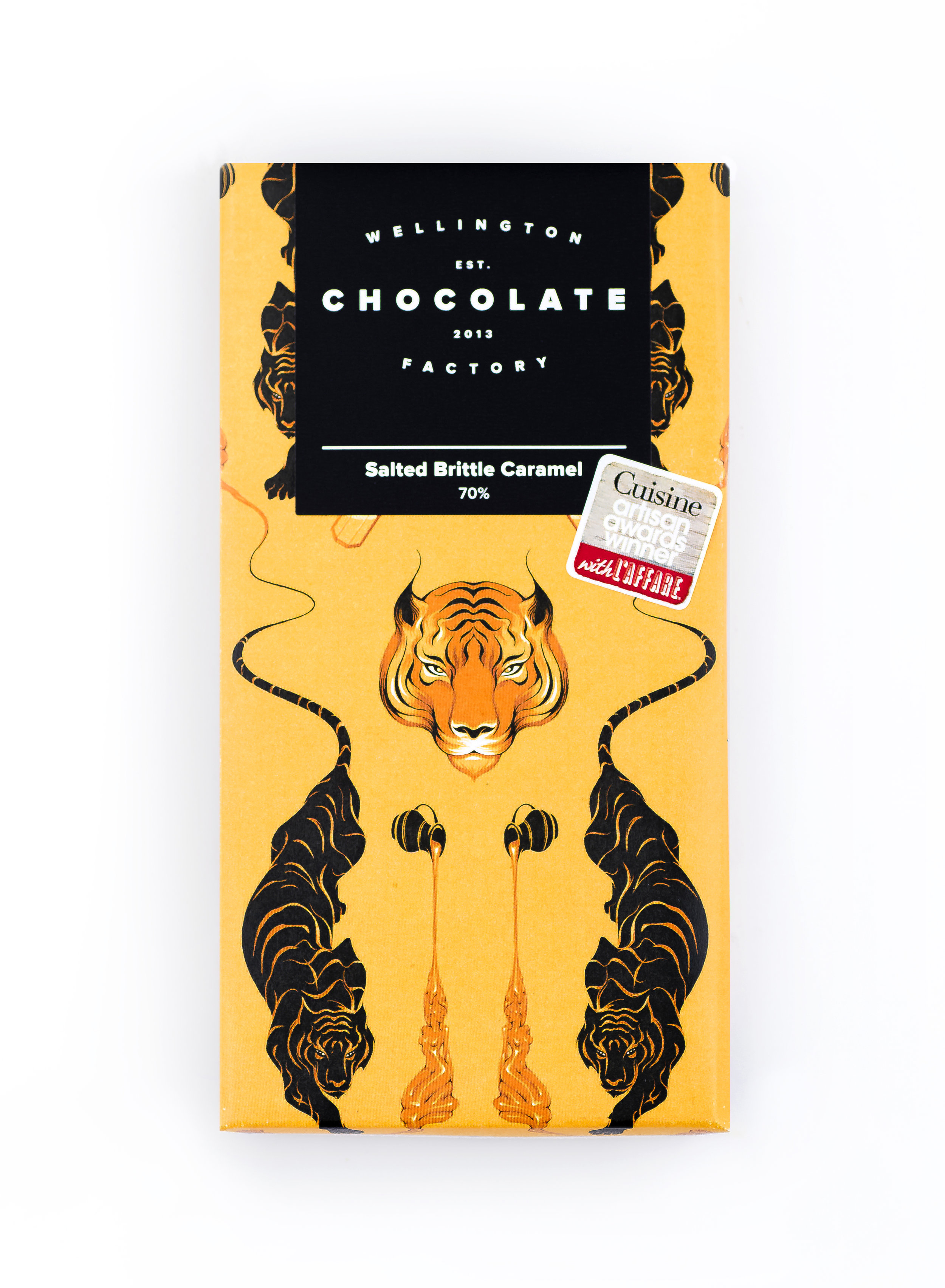 Salted Caramel Chocolate Bar - Our most popular bar ever. Generous lashings of salted brittle caramel strewn over our special house blended chocolate.