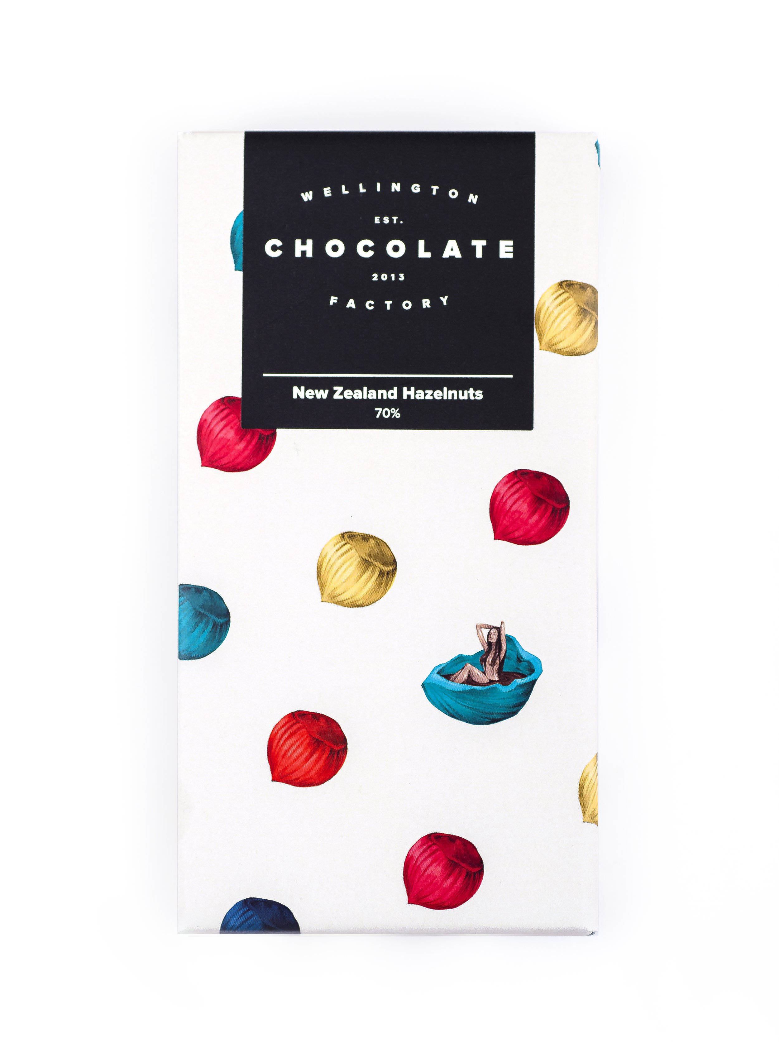 NZ Hazelnuts Chocolate Bar - House-blended cacao topped with New Zealand hazelnuts.