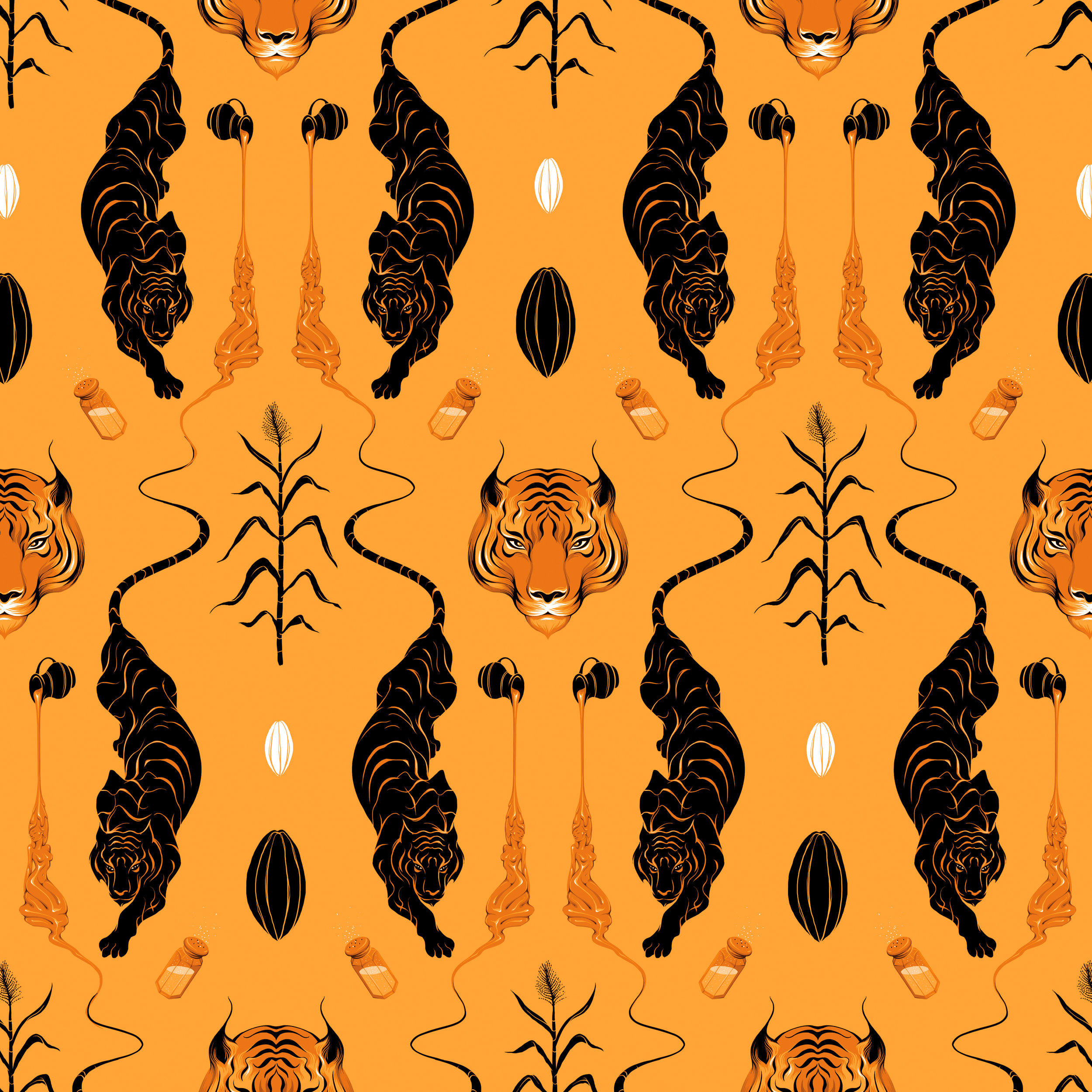 Gina Kiel - Gina was the first artist we commissioned for a WCF wrapper, and this bar is a true original. Still our most popular flavour, this salted caramel brittle artwork was inspired by the alluring; featuring our now iconic tiger, liquid caramel, sugar cane and of course, the cacao pod.