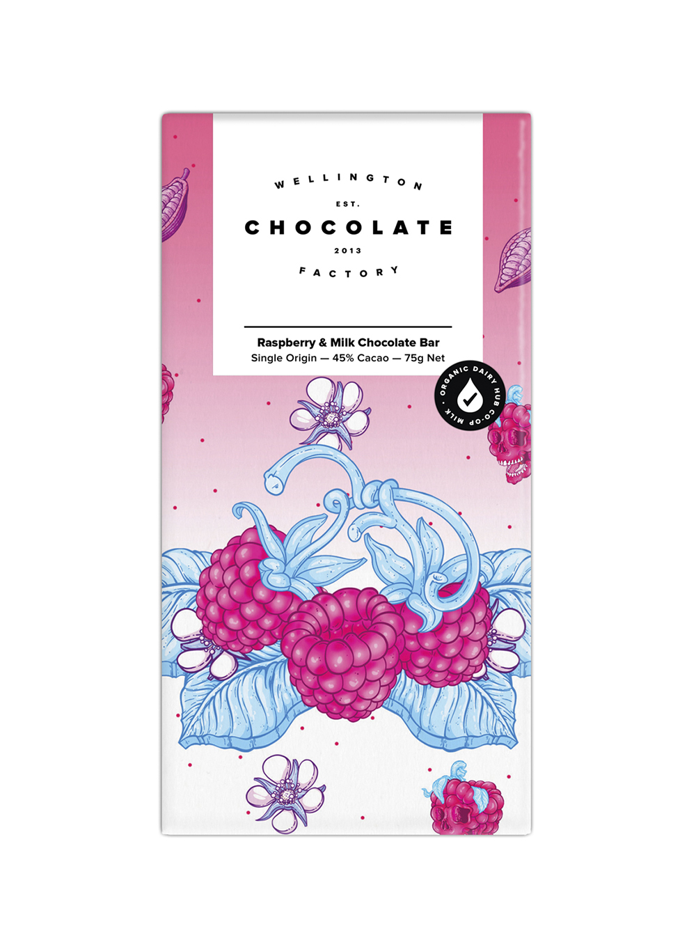 Raspberry Milk Chocolate Bar - Organic single origin milk chocolate infused with real, freeze-dried New Zealand raspberries.