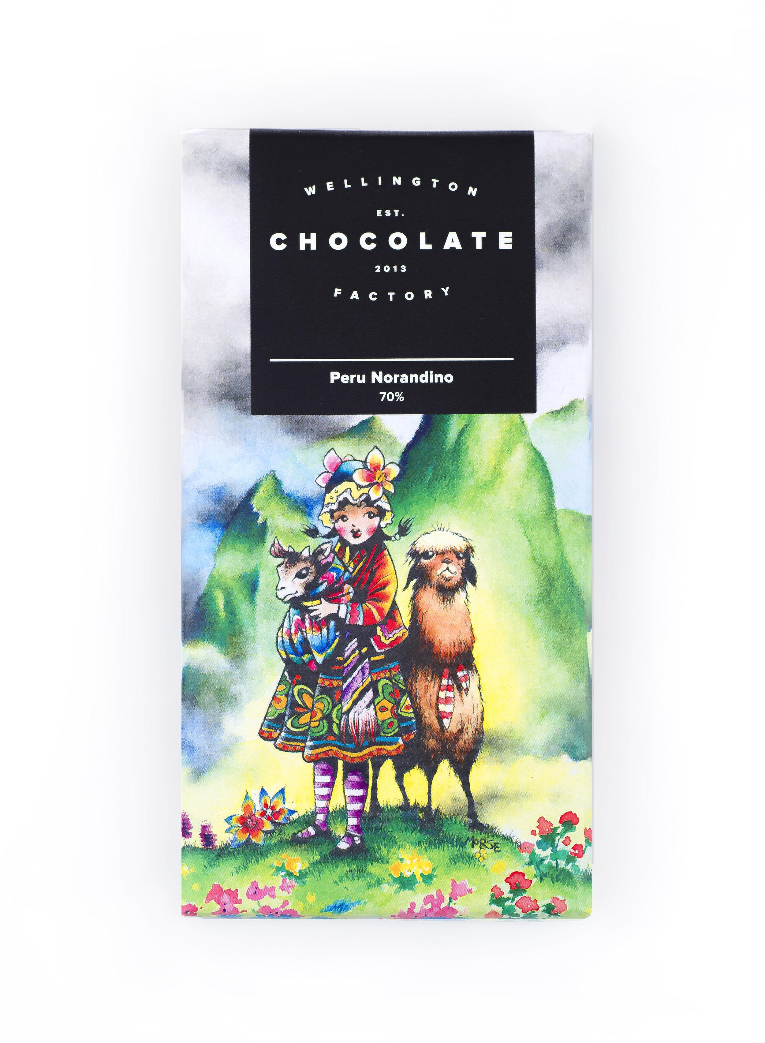 Peru Norandino Chocolate Bar - Single origin chocolate made solely with Peruvian Criollo cacao and Paraguay cane sugar.