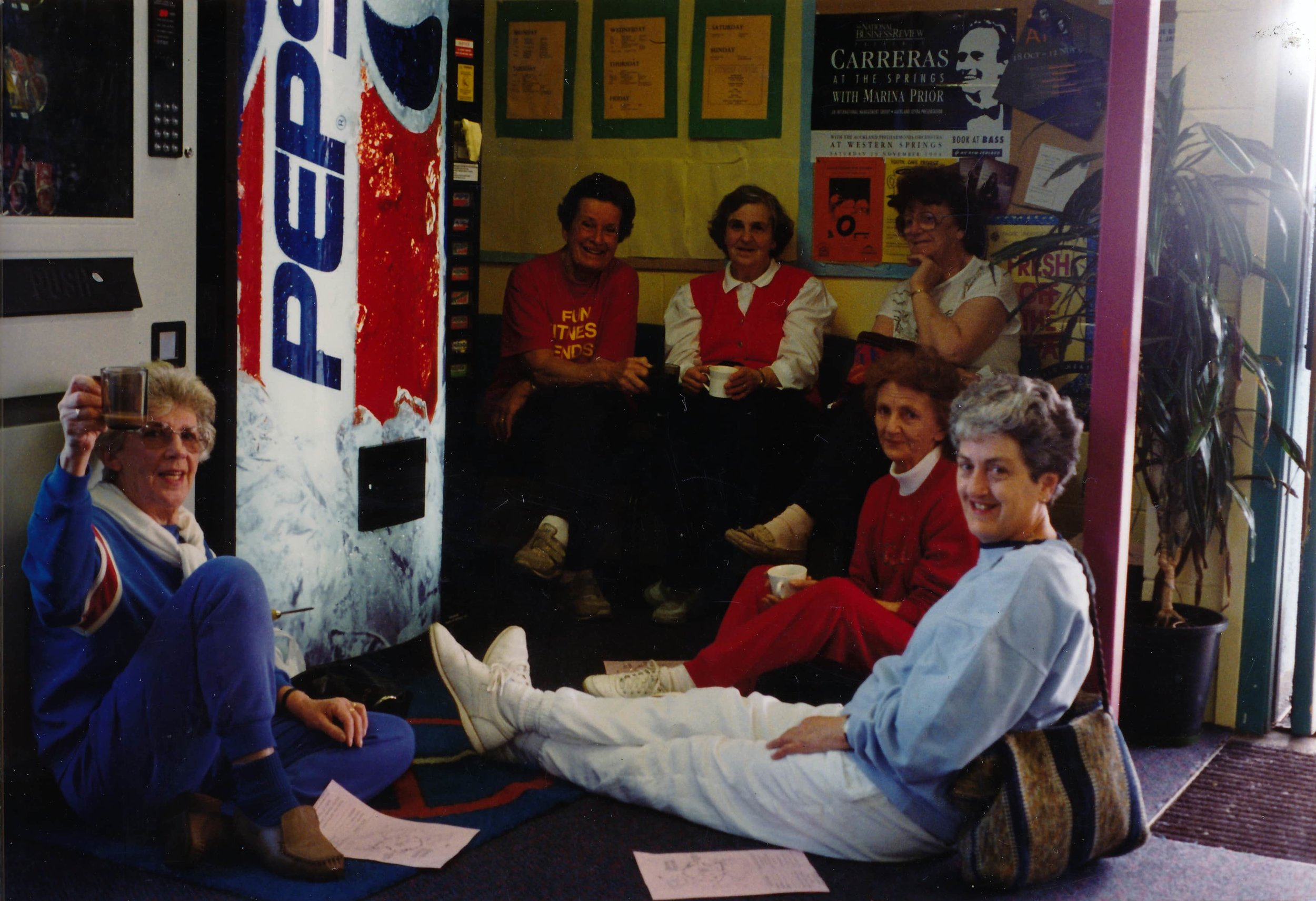 Women in the 50+ exercise club have a social break in the foyer near the entrance. Photo credit: YMCA Jordan Rec Centre. Late 80s / Early 90s.