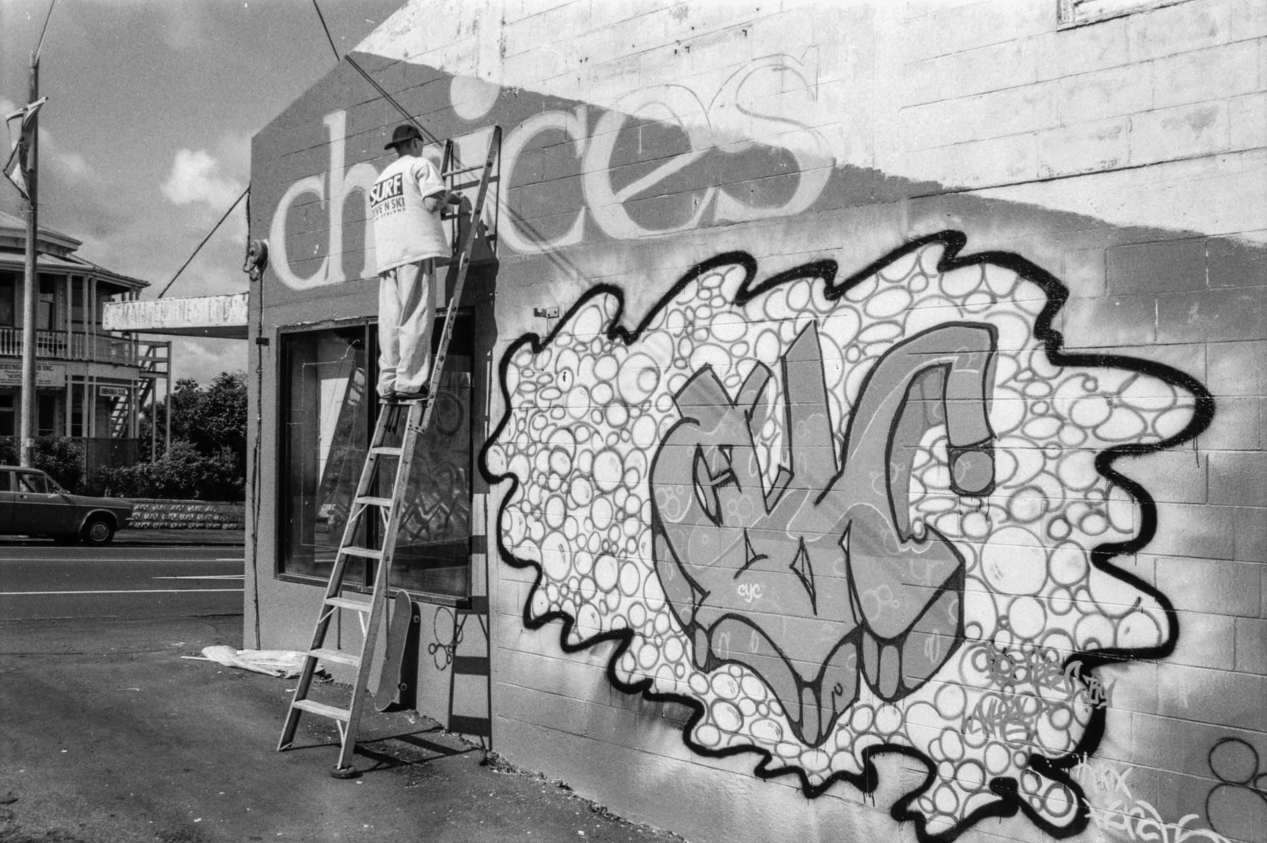 Onehunga Sign Writing Choices Youth Centre Onehunga Mall. Photo credit: Stjohn Milgrew. 1995.