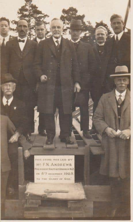 The Foundation stone of Avondale Baptist Church, laid on December 5th 1925 by the Secretary of the Baptist Union, Mr F N Andrews. He is seated on the left with the Mayor of Avondale, Mr. W J Tait next to him. The other dignitaries were from Baptist Churches, the Auckland Baptist Auxilary, and the local Presbyterian Church. Image credit: Tony Goodwin. 1925.