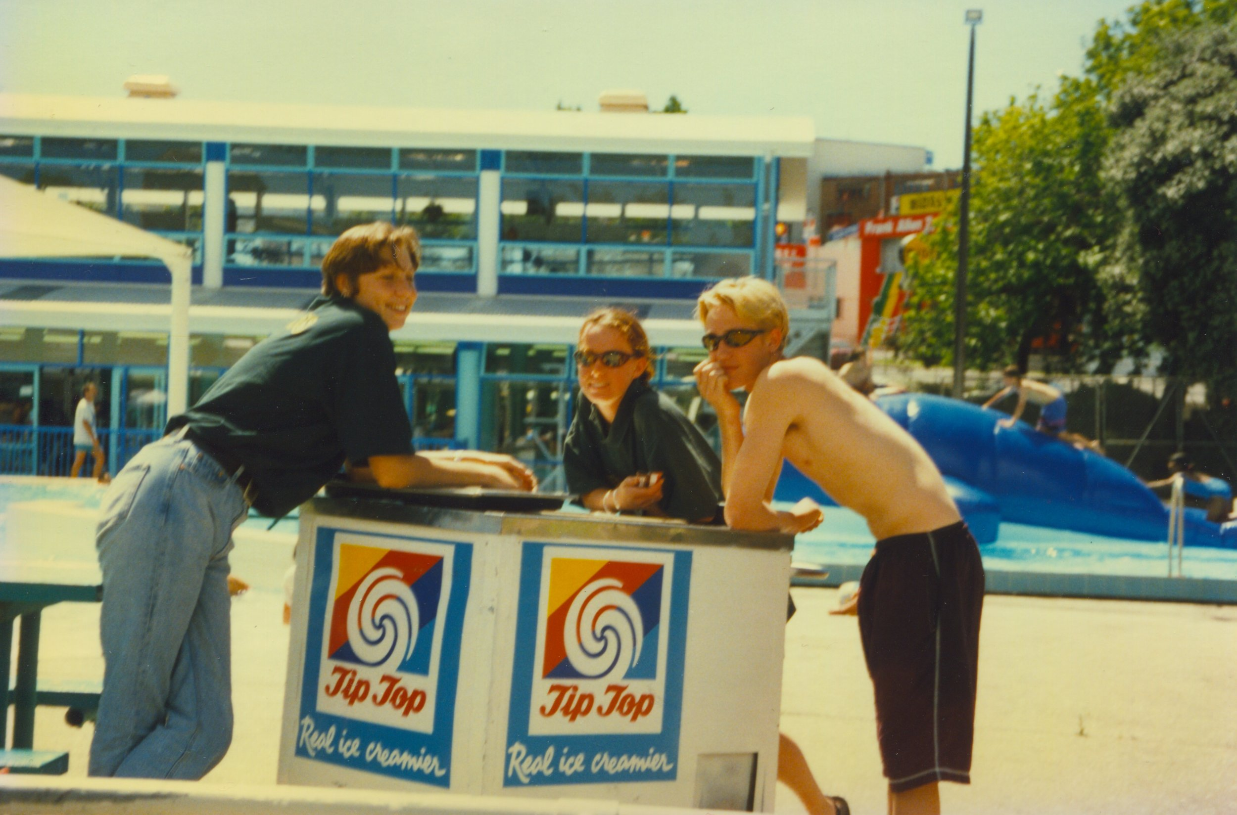 Dudes chillin' out at the Panmure Lagoon Pools. Image credit: Panmure Lagoon Pools. Late 80s/90s.