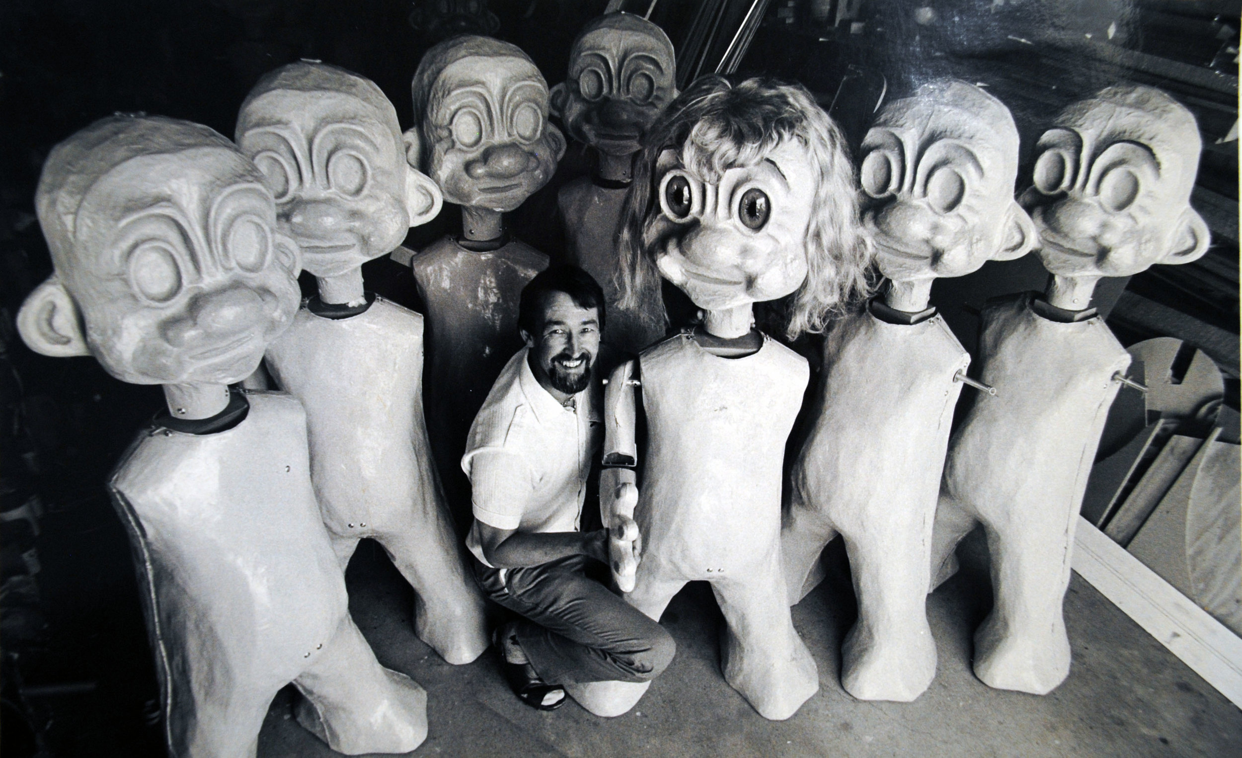 Worker creates the characters for the log flume. Image credit: Rainbowsend. Date unkown.