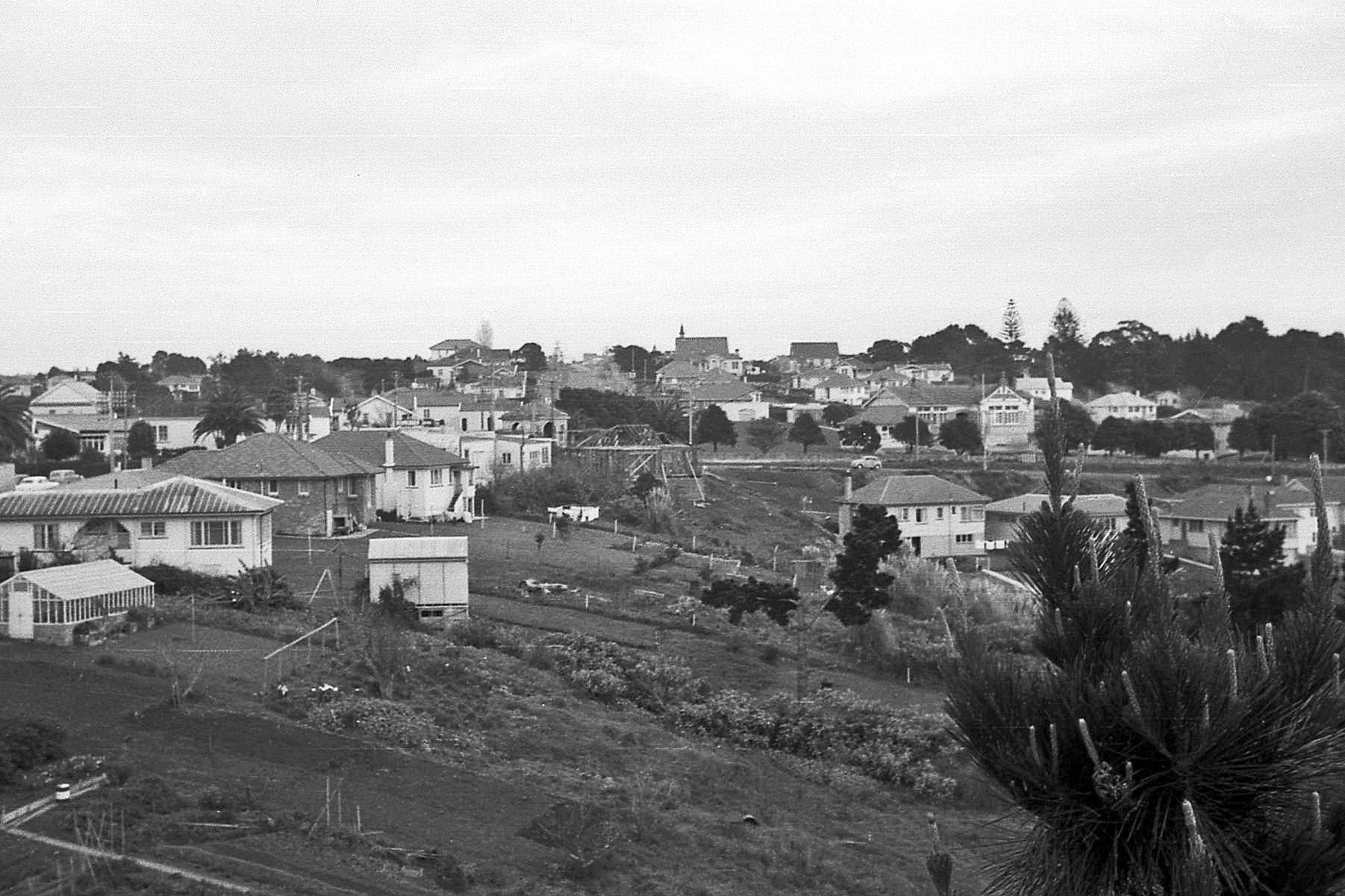 Rob Aspden's climbed a pine tree close to his home and captured this shot of Northcote Primary School. You can see the Presbyterian Church on the horizon and Lake Road across the centre. The distinctive Northcote War Memorial (1923) towards left centre. The concrete Primer block no longer exists. It was built in 1918 so this is a reminder that a centennial celebration will take place next year.   Image credit: Peter Aspen. 1955.