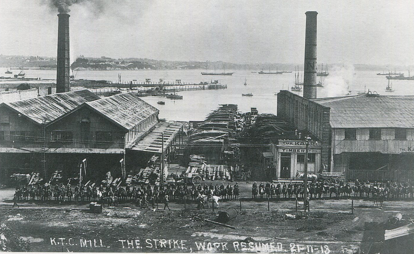 """K.T.C. Mill strike in 1913, outside the company buildings on Fanshawe Street. From the book """"Auckland Before the Harbour Bridge"""" by Graham Stewart. 2002."""