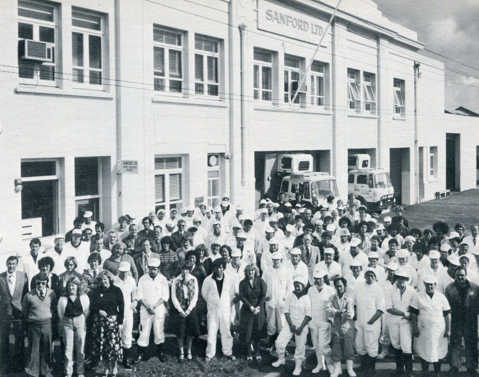 """Auckland Jellicoe Street staff in 1980. From """"The Story of Sandford LTD. by Paul Titchener"""" 1981."""