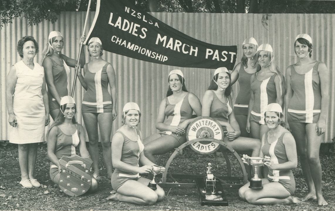 The Waitemata Ladies Surf Lifesaving Club is the Ladies March Past winning team at National Championship. Image credit: Helen Gillespie. 1970.