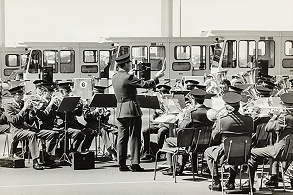 Takapuna City Silver Band aka North Shore Brass performing at Auckland Harbour Bridge opening ceremony. Image credit: John Sullivan. 1959.