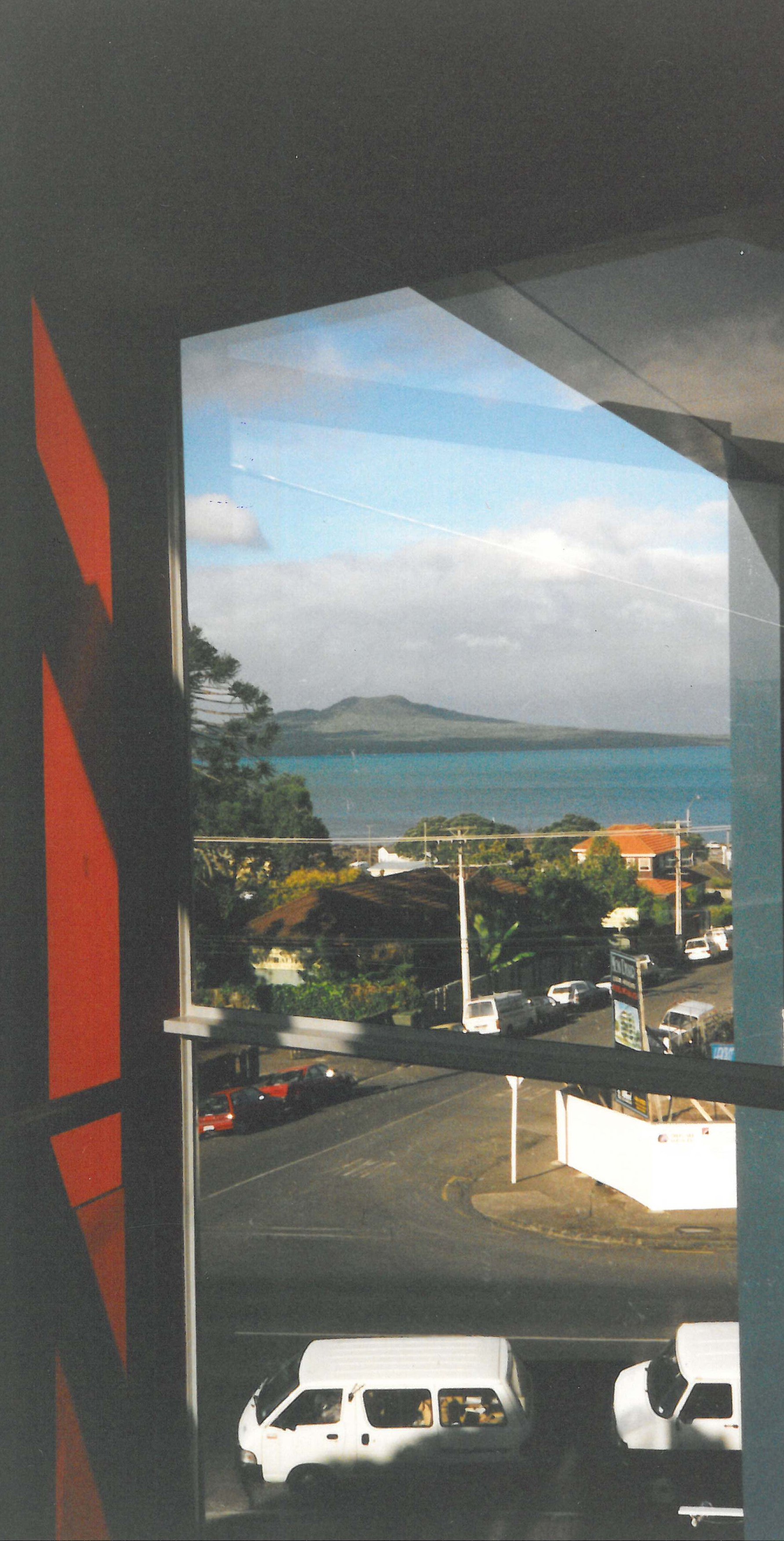 Looking over Takapuna Beach to Rangitoto. Image credit: Helen Stevens. 1996.