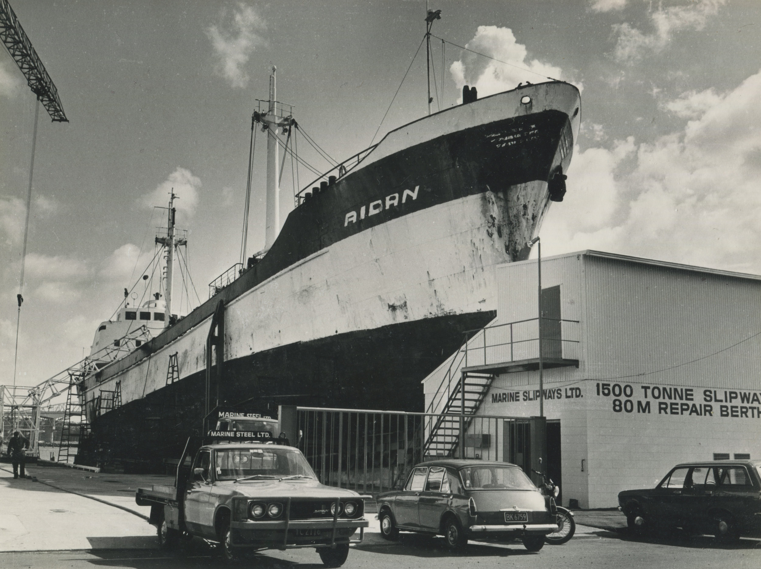 A Warner Pacific ship being worked on by Marine Slipways Ltd in the 1980s. Image courtesy of Titan Marine Engineering.