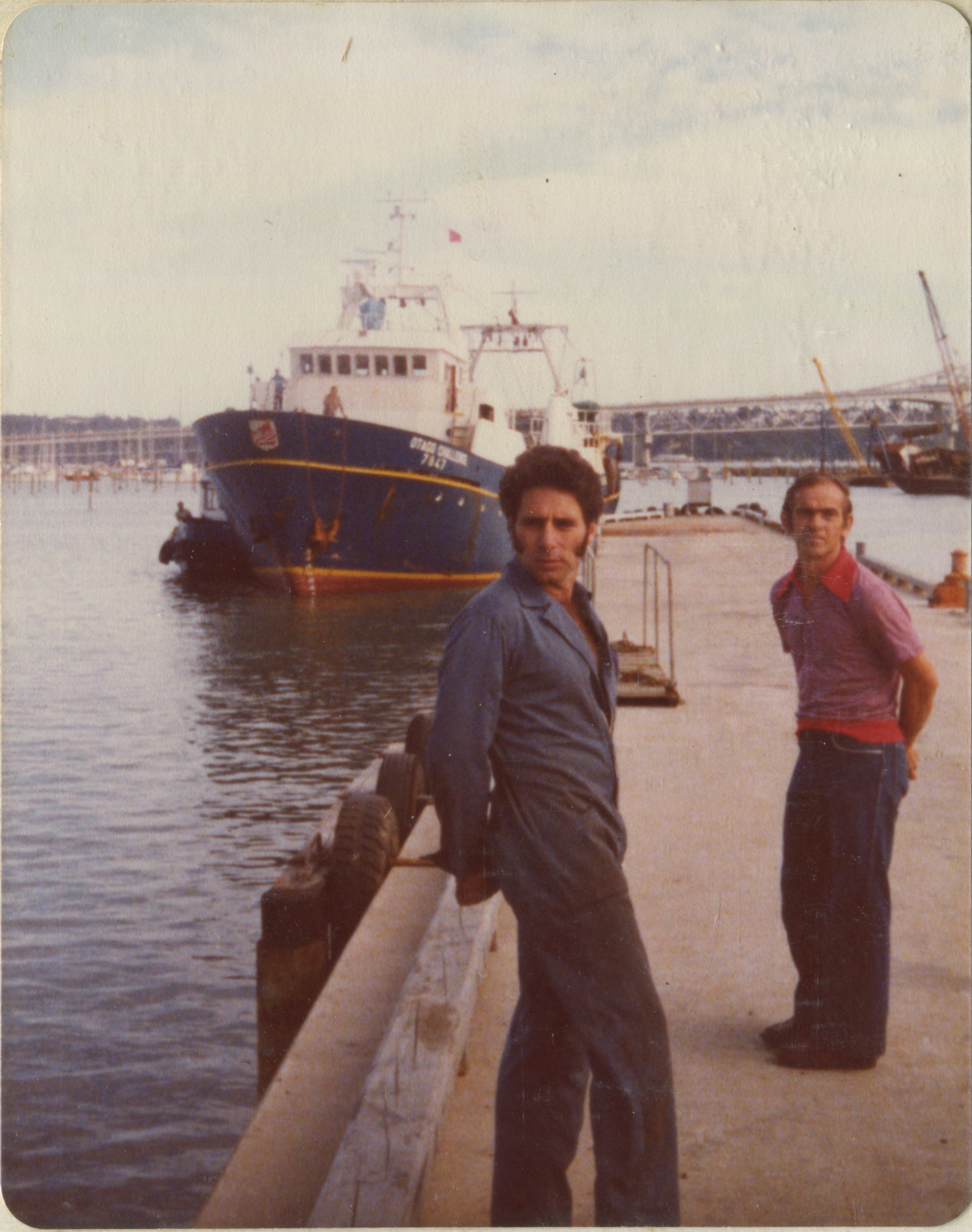 """Nev and """"The Otago Challenge"""" arriving on the dock upon arrival from Spain in the 1970s. Courtesy of Titan Engineering."""