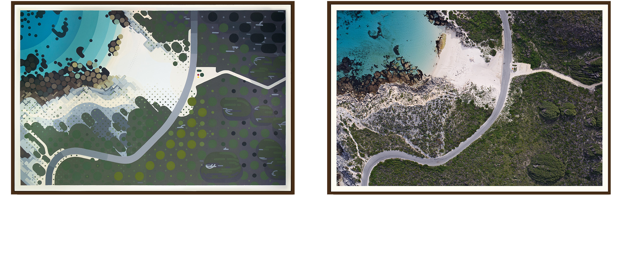 Left: 'Salmon Bay II' by Amok Island - acrylics on canvas 154cm x 104cm Right: 'Salmon Bay II' by Jarrad Seng - giclee photographic print on canvas 154cm x 104cm