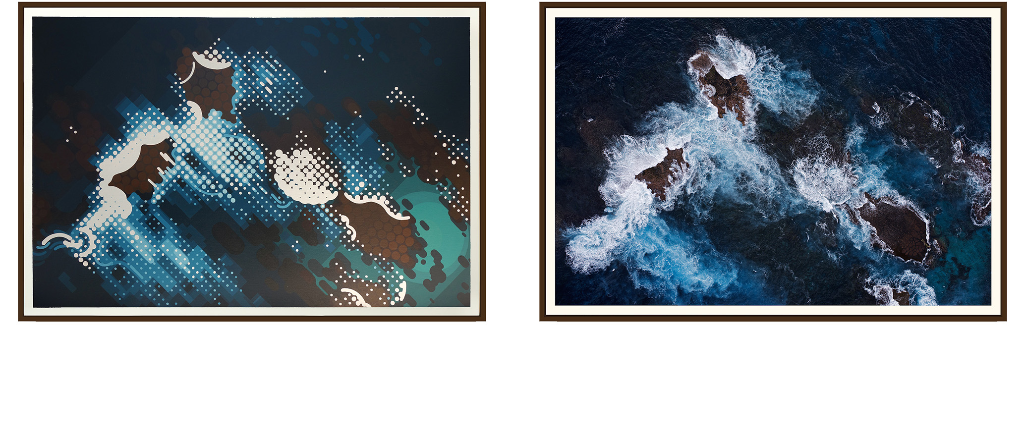 Left: 'South West End' by Amok Island - acrylics on canvas 154cm x 104cm Right: 'South West End' by Jarrad Seng - giclee photographic print on canvas 154cm x 104cm