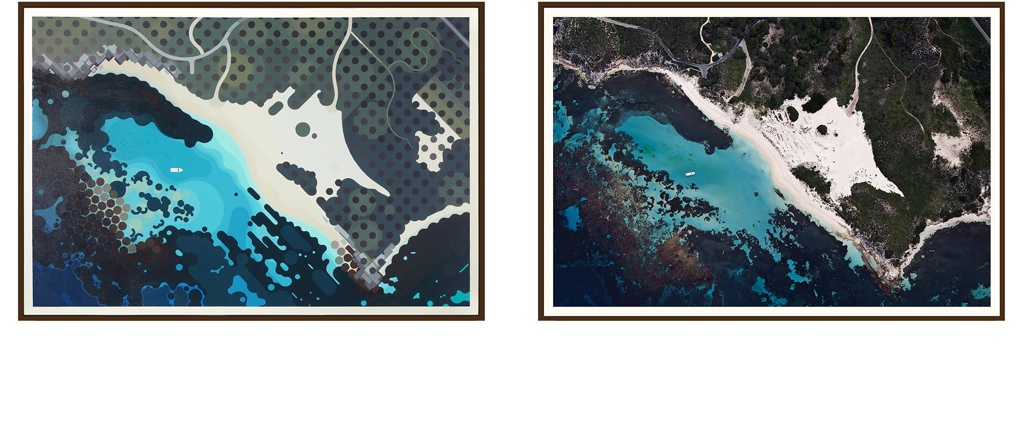 Left: 'Porpoise Bay' by Amok Island - acrylics on canvas 154cm x 104cm Right: 'Porpoise Ba' by Jarrad Seng - giclee photographic print on canvas 154cm x 104cm