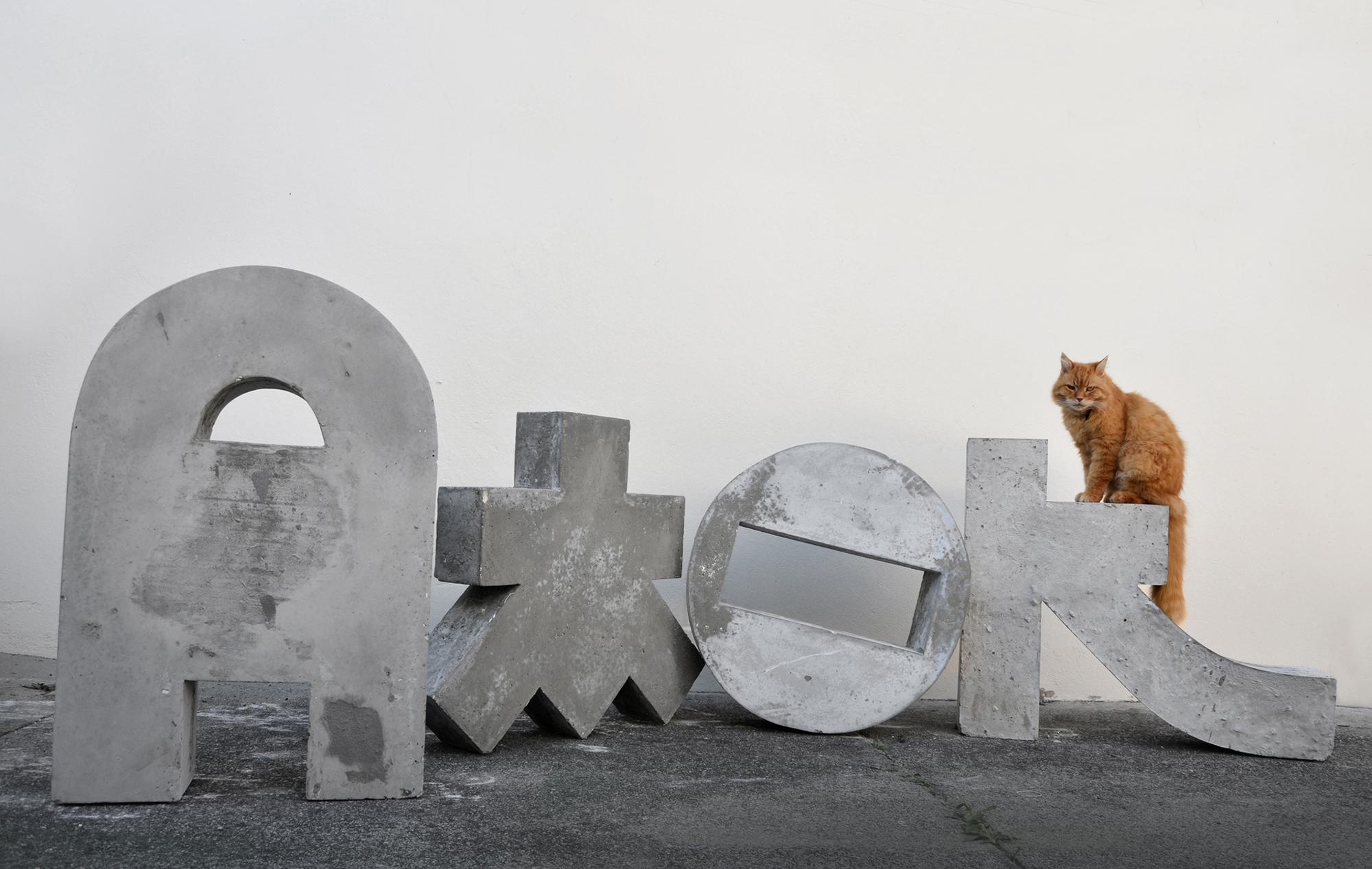 'Amok' concrete, approx 130cm x 120cm per letter, 2013