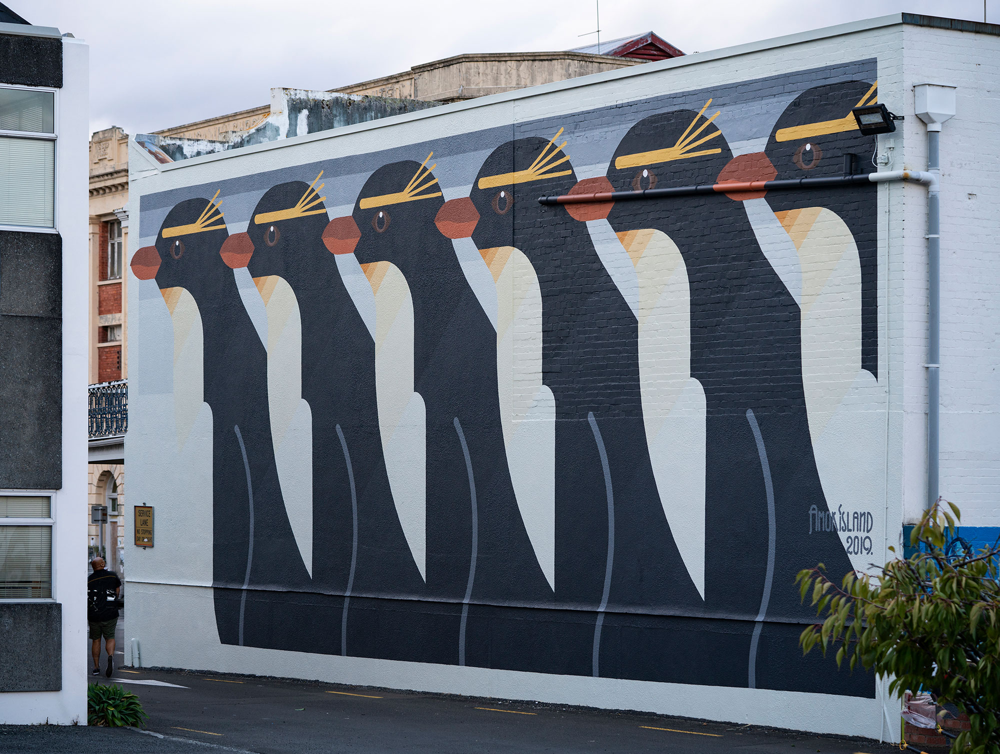 Whanganui, New Zealand 2019 'Sulphur Crested Penguins' for Whanganui Walls.