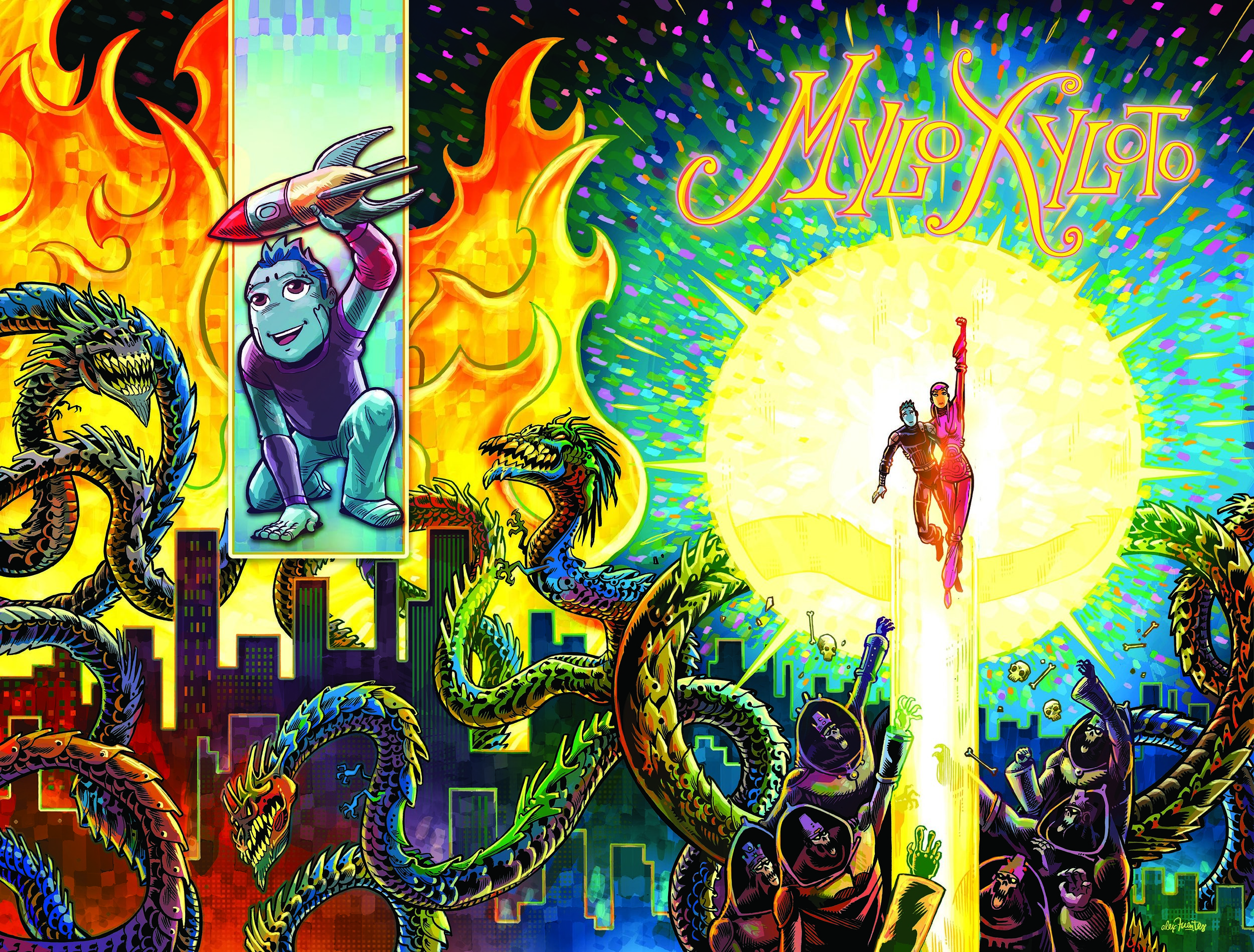 One of six 2-page spread cover images for the limited series of    MYLO XYLOTO COMICS    (co-created by Mark Osborne and Coldplay). This cover features artwork and color by Alex Fuentes, the sci-fi fantasy epic tells the tale of a musical graffiti rebellion in a dystopian world where color and music are forbidden.