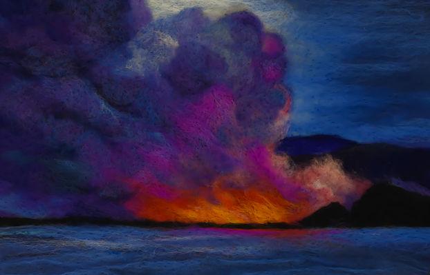 """""""Kilauea Lava at Sea"""" Fiber Art 11x17"""