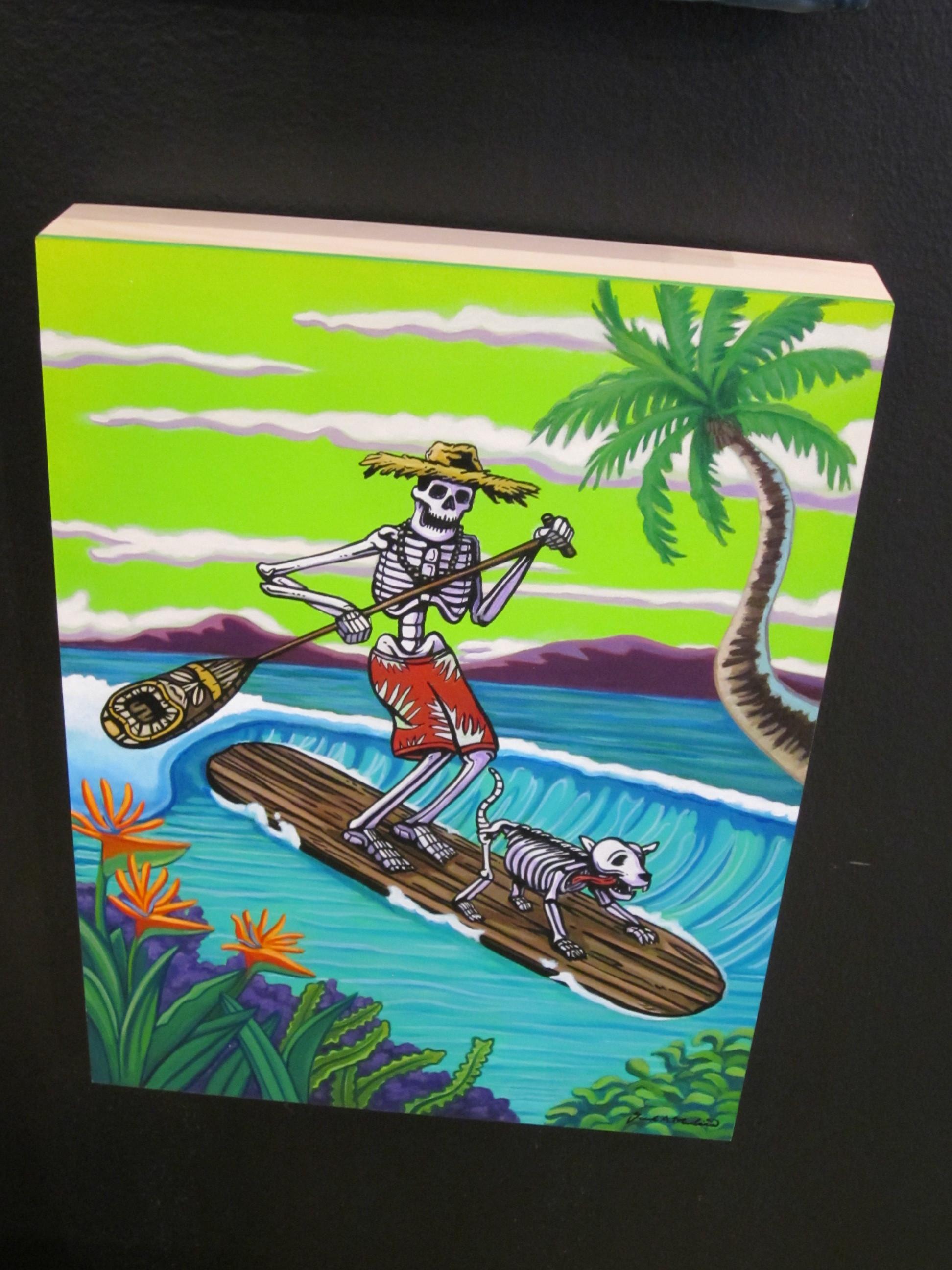 """""""Dog Paddle"""" Acrylic and Enamel on Panel"""