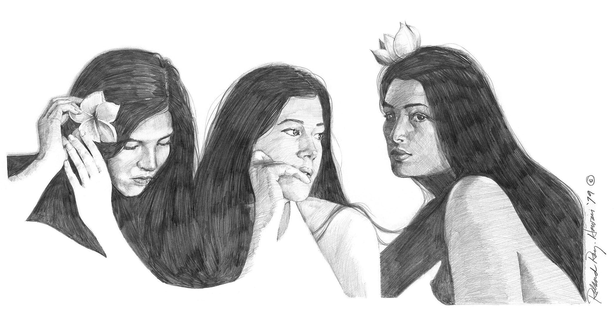 """Three Wahine"" pencil on paper"