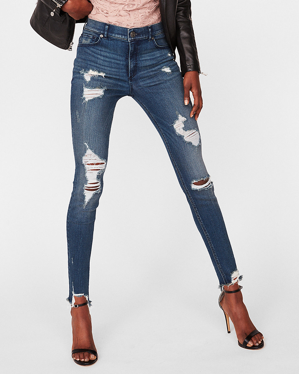 EXPRESS high waisted destroyed jeans