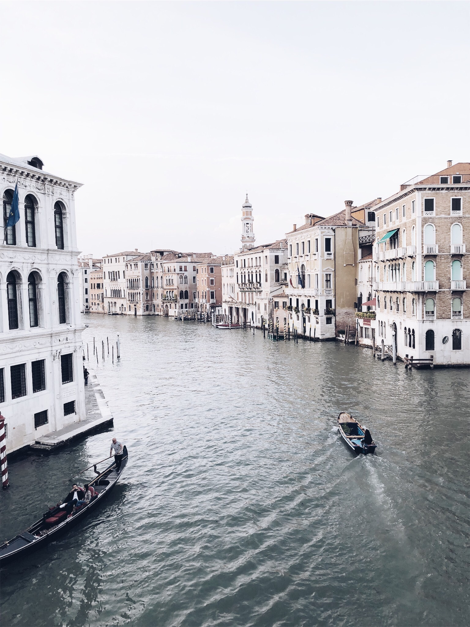 The beautiful view from the Grand Canal in Venice