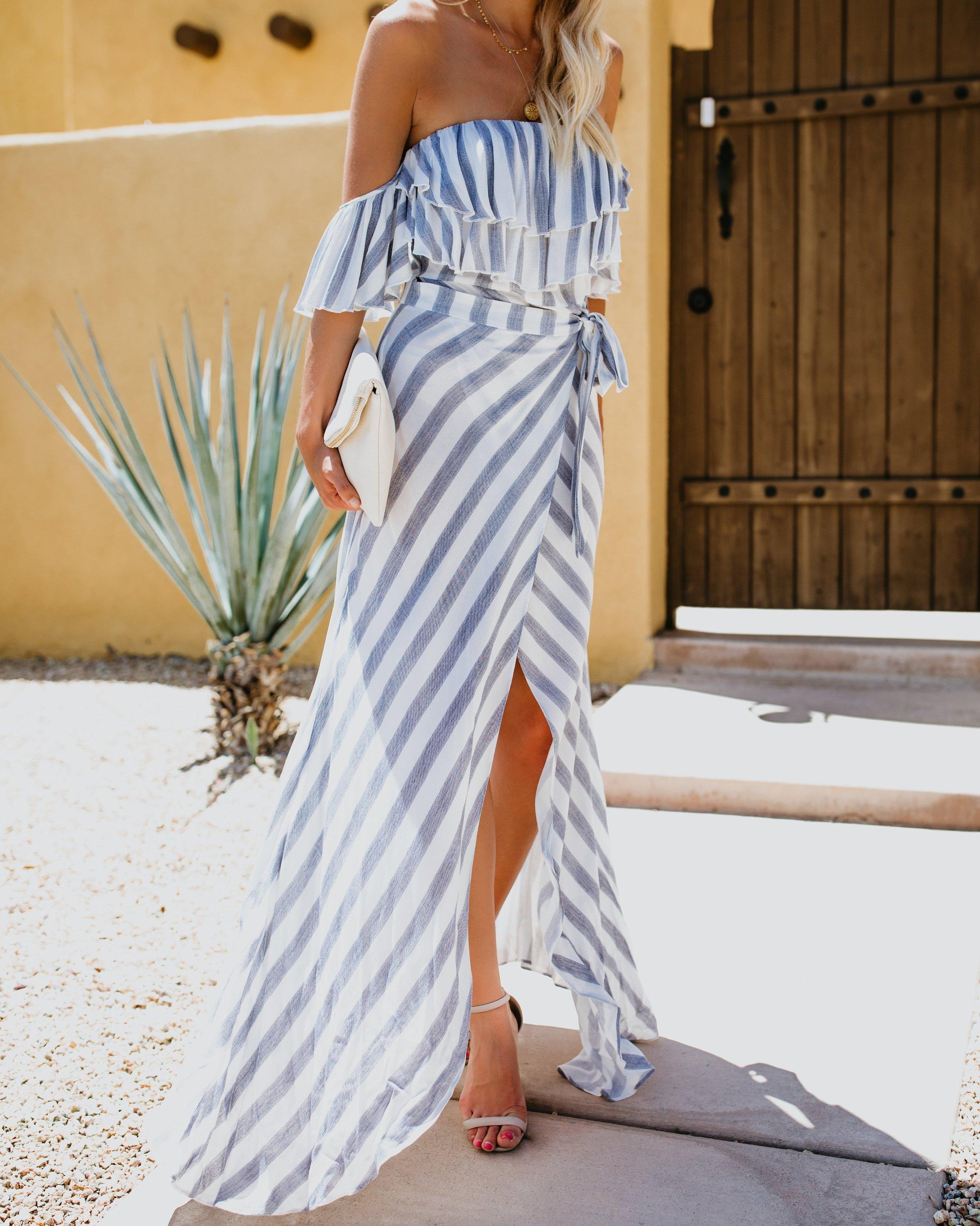 Vici Eclipse Striped Maxi dress