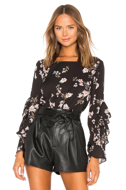 BB Dakota Floral Ruffle Sleeve Top