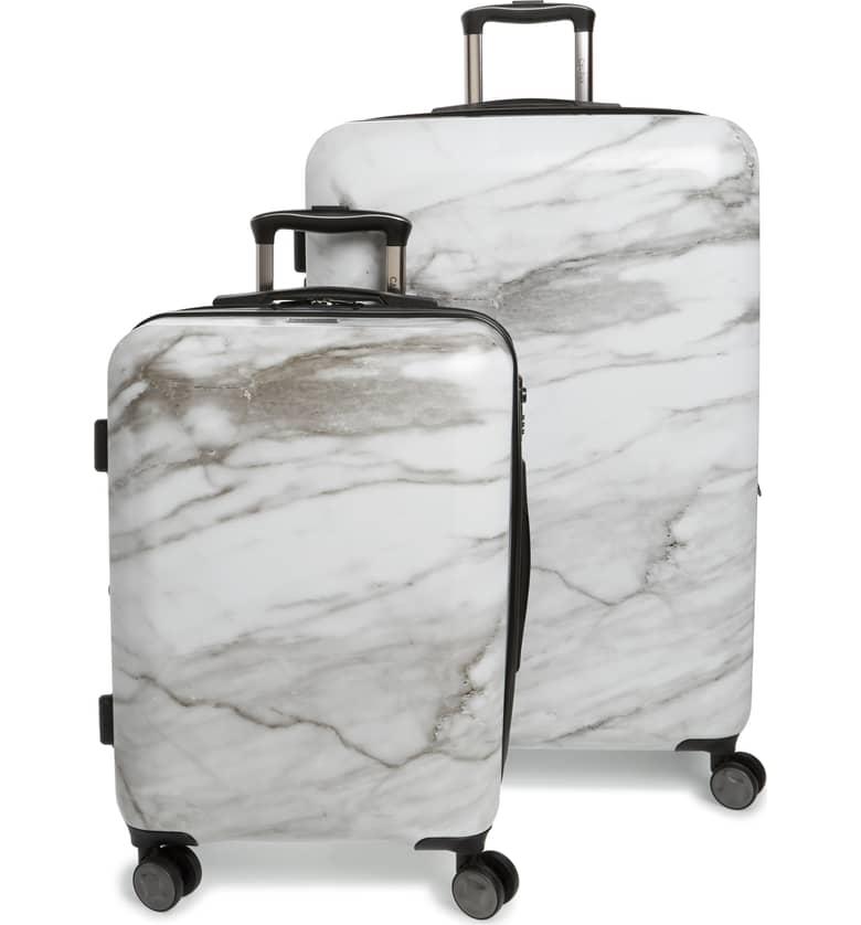 CALPAK White Marble Suitcase Set
