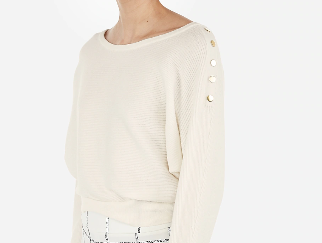 Express Ribbed Button Sweater