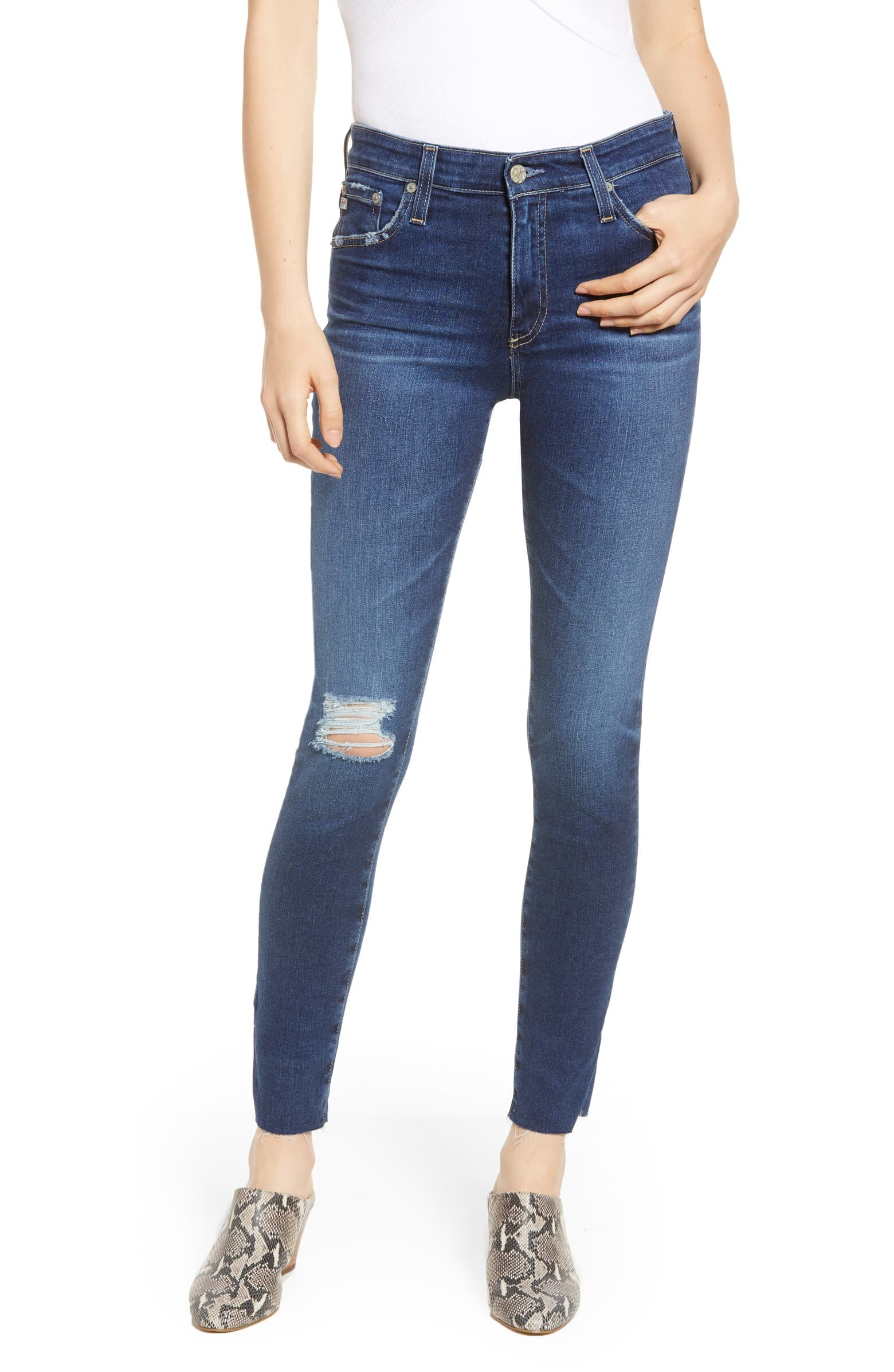 AG Ripped Stiletto ankle Jeans
