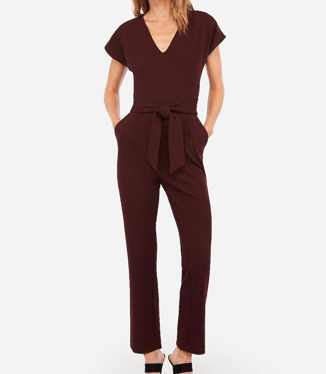 V-neck tie waist jumpsuit
