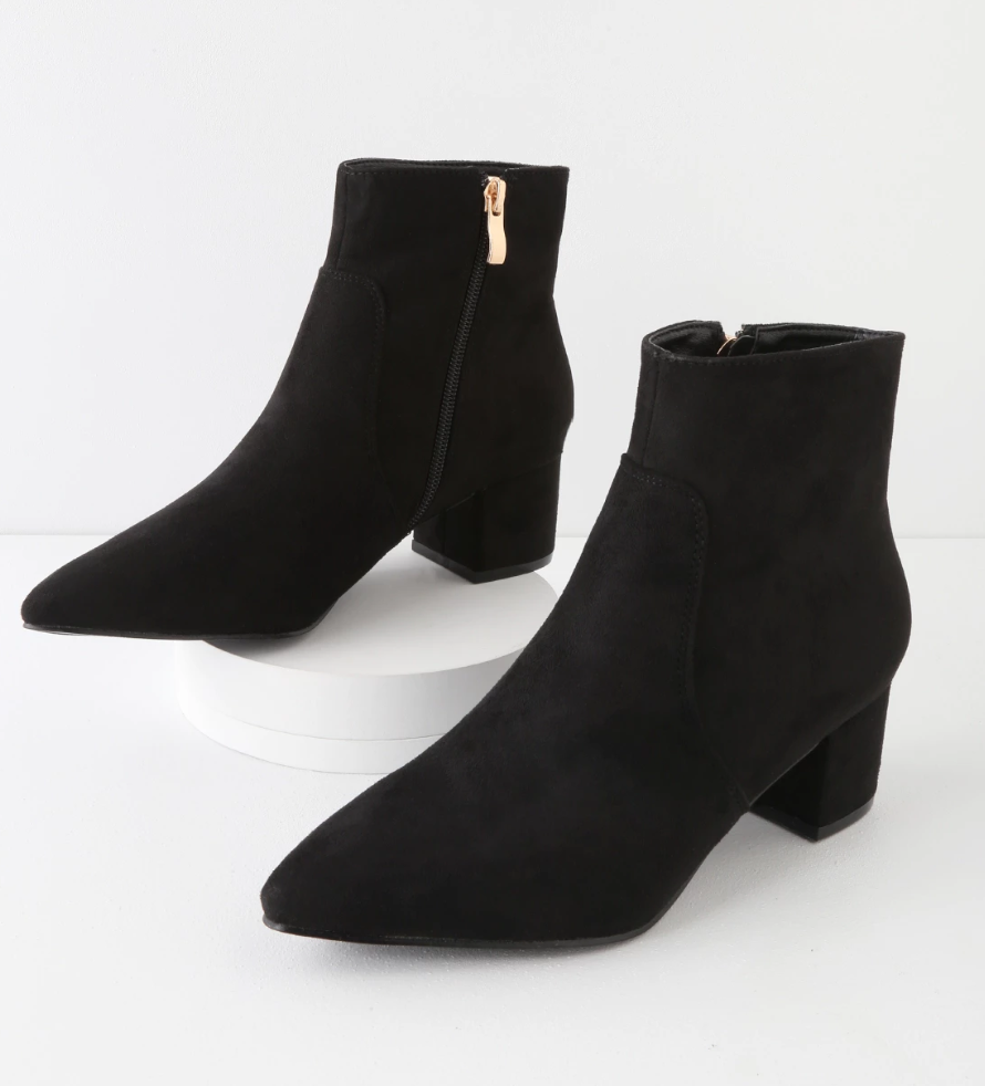 Microsuede Black Boots