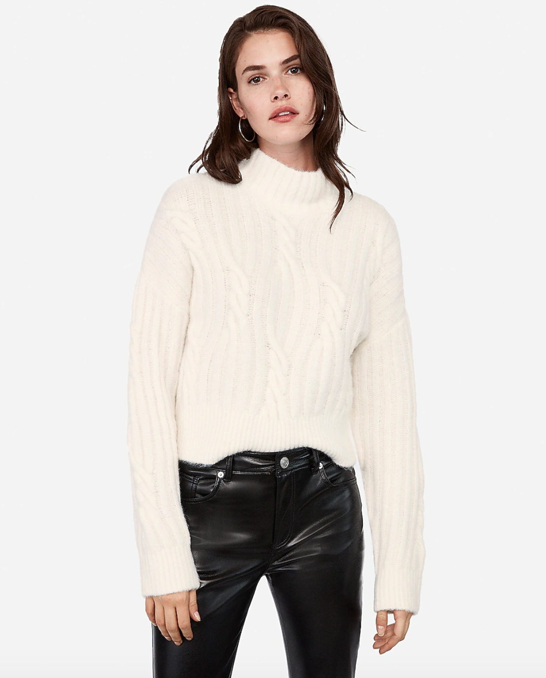 Funnel neck cable neck sweater