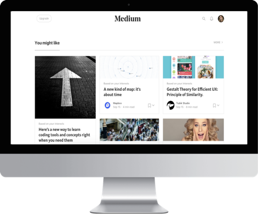 Medium landing page with suggestions and post breaks