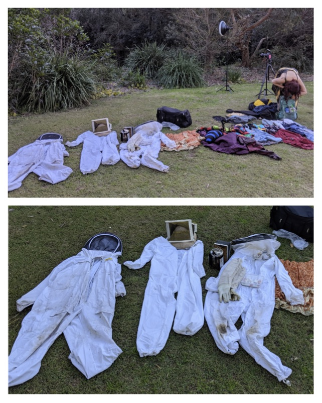 Bee suits and clothing layout.