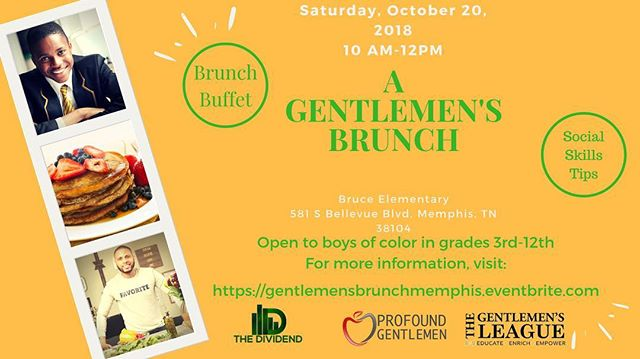 I'm so excited to FINALLY get this brunch going for boys of color with @profoundgentlemen and @thegentlemensleague . The event is free and @chef_darthur is giving the boys a lesson in food and class. Young men will take part in table conversations about #socialemotionallearning and talk about what tools they will need to finish the semester strong. Register your son, mentee, brother, cousin today at gentlemensbrunchmemphis.eventbrite.com  #memphis #901 #boysofcolor #sel #thedividend #profoundgentlemen #thegentlemensleague
