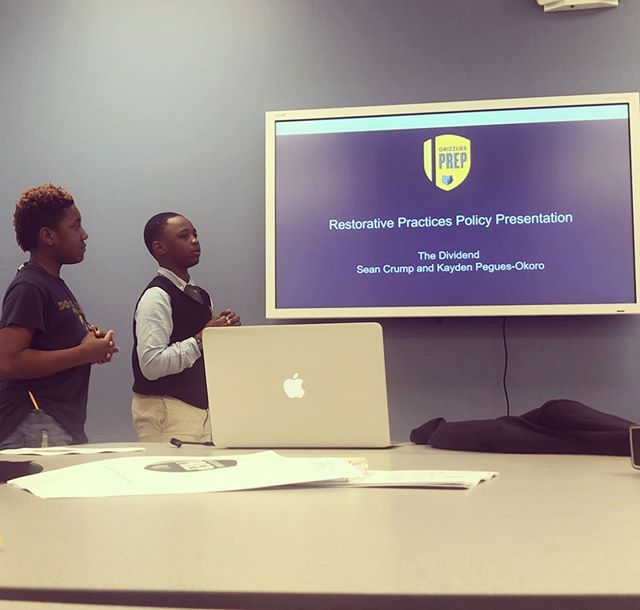 Definitely a proud moment watching two young men from @thedividendmem present to the board of @grizzliesprep to advocate for a school wide Restorative Practices policy. #restorativejustice #restorativepractices @restoring_community @justice_memphis