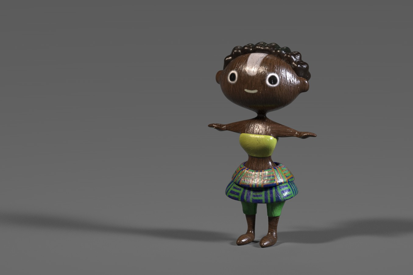 Ghanaian Doll-polished wood