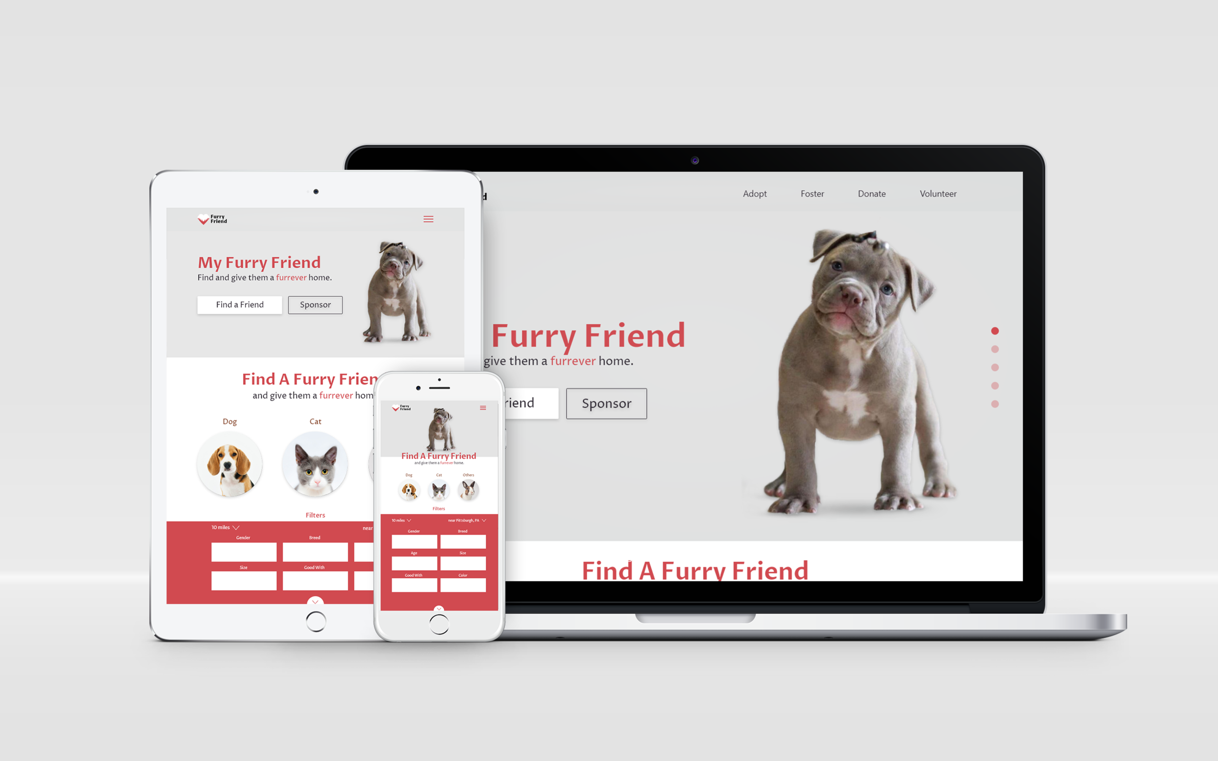 My Furry Friend - RWD pet adoption online-matcher.